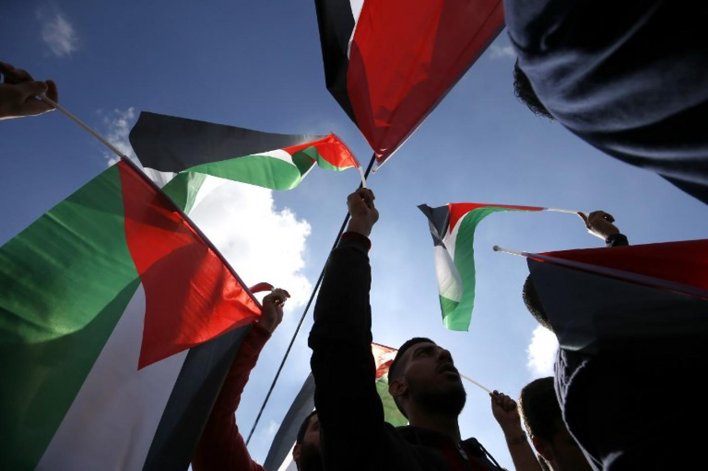 Palestinians hoist their national flag at a protest in Ramallah in November 2018 (AFP)