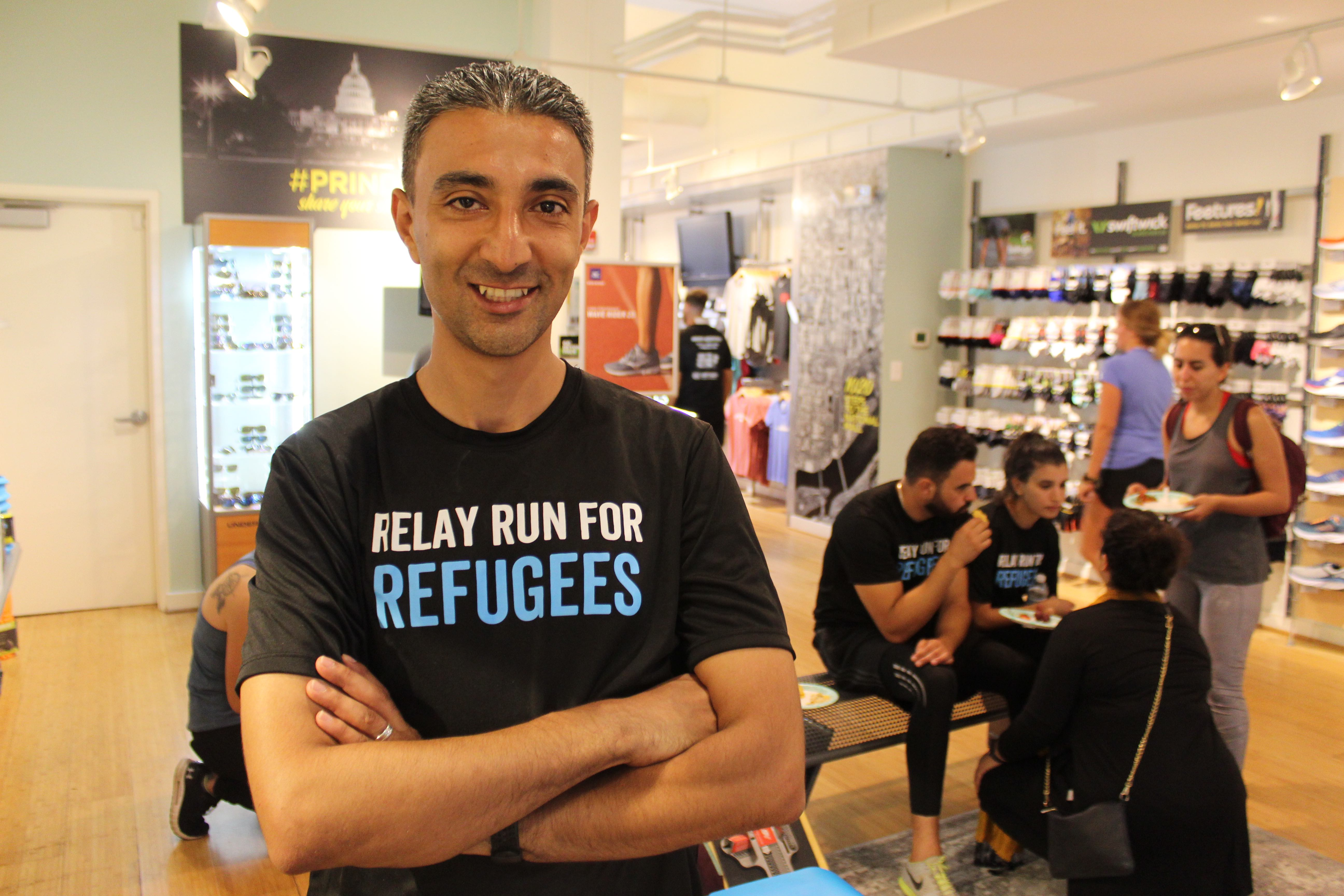 Rami Khalaf, the manager of the Relay Run for Refugees, after completing the marathon and arriving in Washington (MEE/Sheren Khalel)