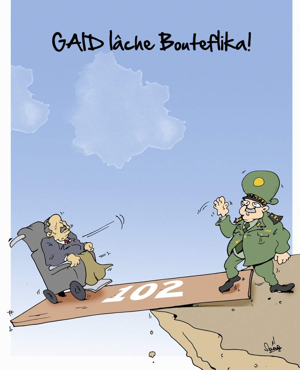 One of Saad Benkhelif's satirical cartoons featuring President Abdelaziz Bouteflika and the head of the Algerian army