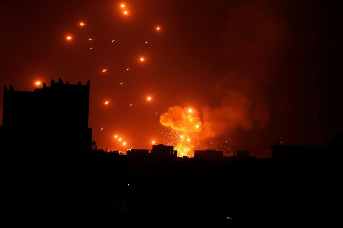 Air strikes in Sanaa last month (Reuters)