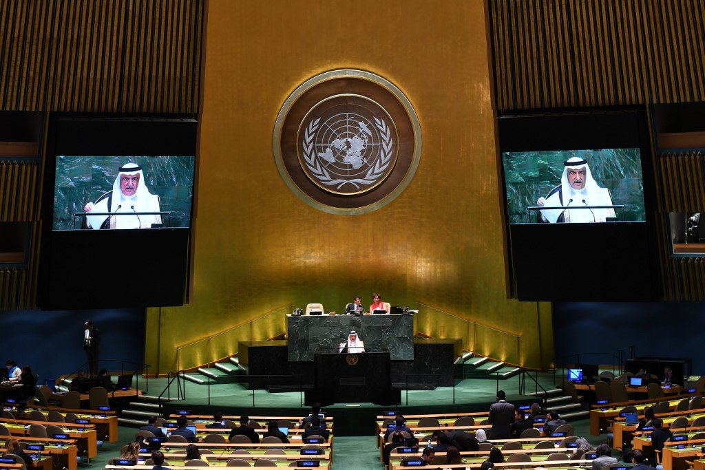 Former Saudi Foreign Minister Ibrahim Abdulaziz Al-Assaf speaks at the UN in 2019 (AFP)