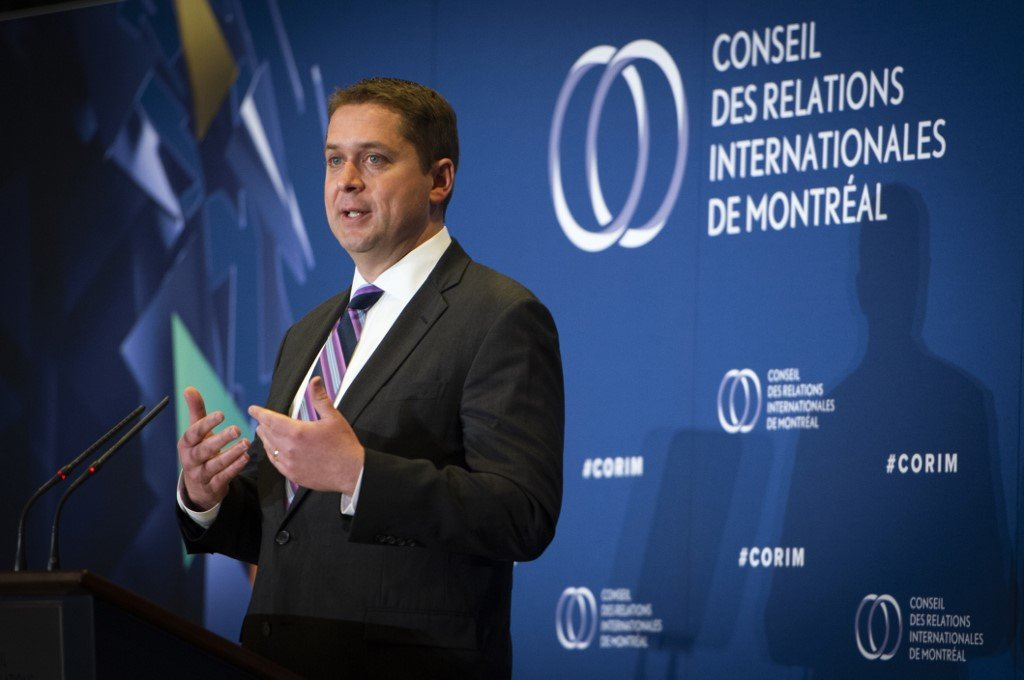 Conservative leader Andrew Scheer speaks in Montreal on 7 May (AFP)