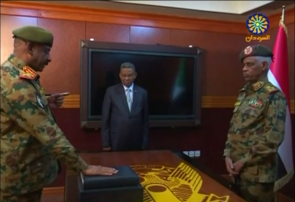 Awad Mohamed Ahmed Ibn Auf and his deputy are sworn in to lead Military Transitional Council (screengrab)