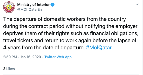 Qatar's Interior Ministry deleted a tweet that listed punitive measure for domestic workers who fail to notify their employers they were leaving 72 hours in advance (Screengrab(