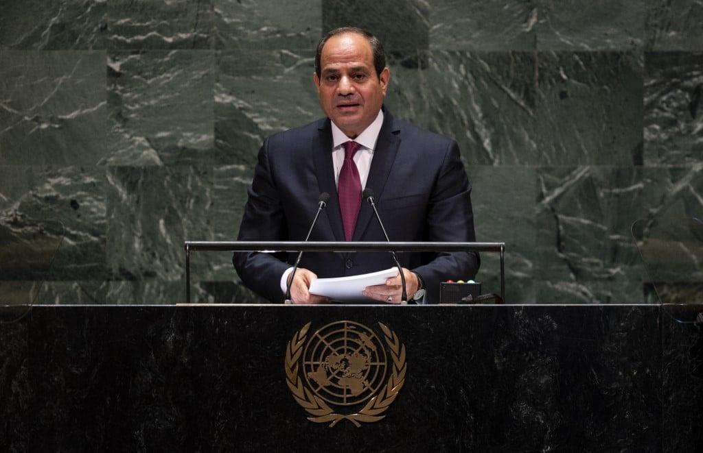 Egyptian President Abdel Fattah al-Sisi speaks at the UN on 24 September (AFP)
