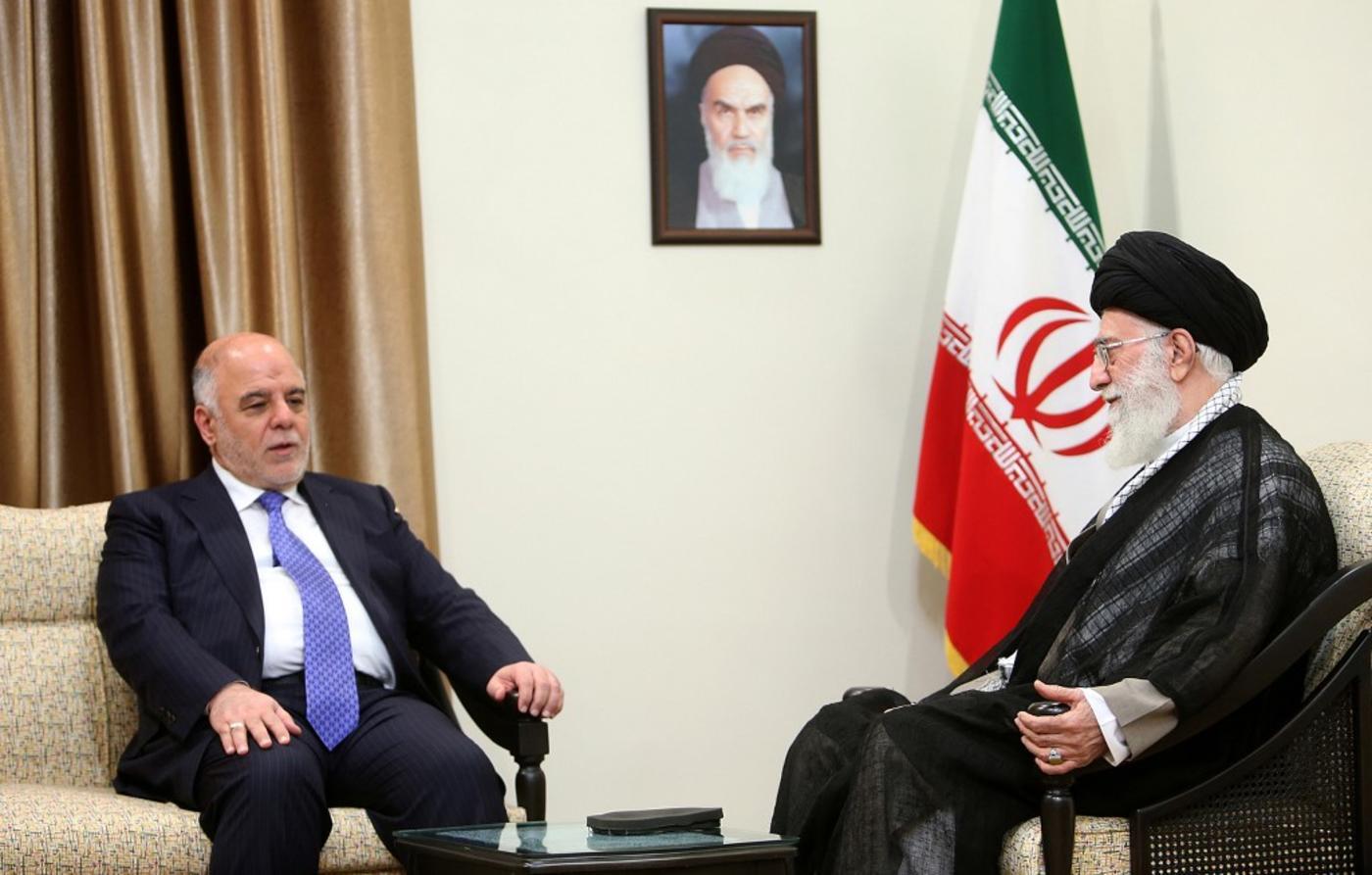 Haider al-Abadi meets Iranian Supreme Leader Ali Khamenei in Tehran in 2015 (AFP)