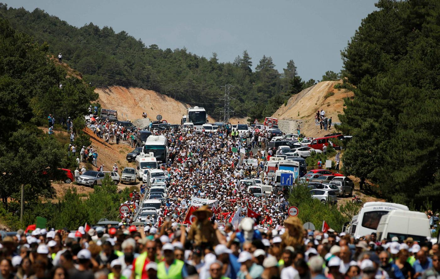 Stop the eco-slaughter': Thousands march in Turkey against Canadian