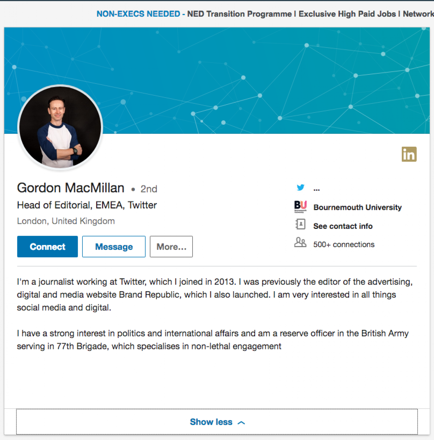 An image of Gordon MacMillan's LinkedIn page, which has since been edited to remove reference to the 77th Brigade (Screengrab)