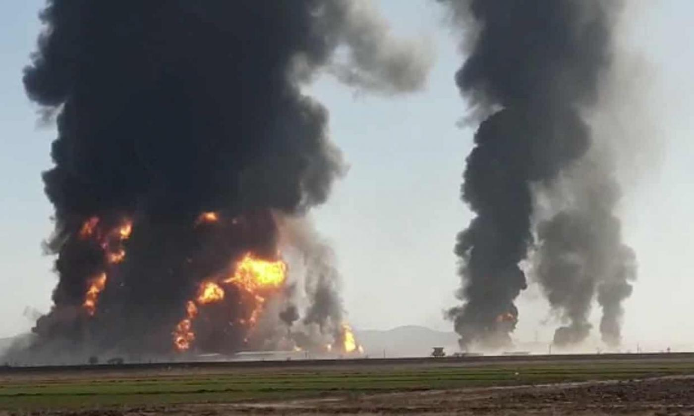 Image result for 500 fuel tracks onl fire on Afghan-Iran border images