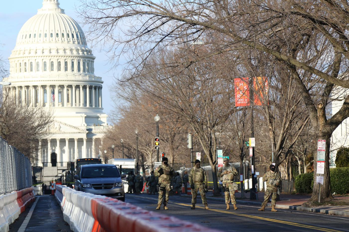 National Guard members are stationed several hundred feet from the US Capitol building.