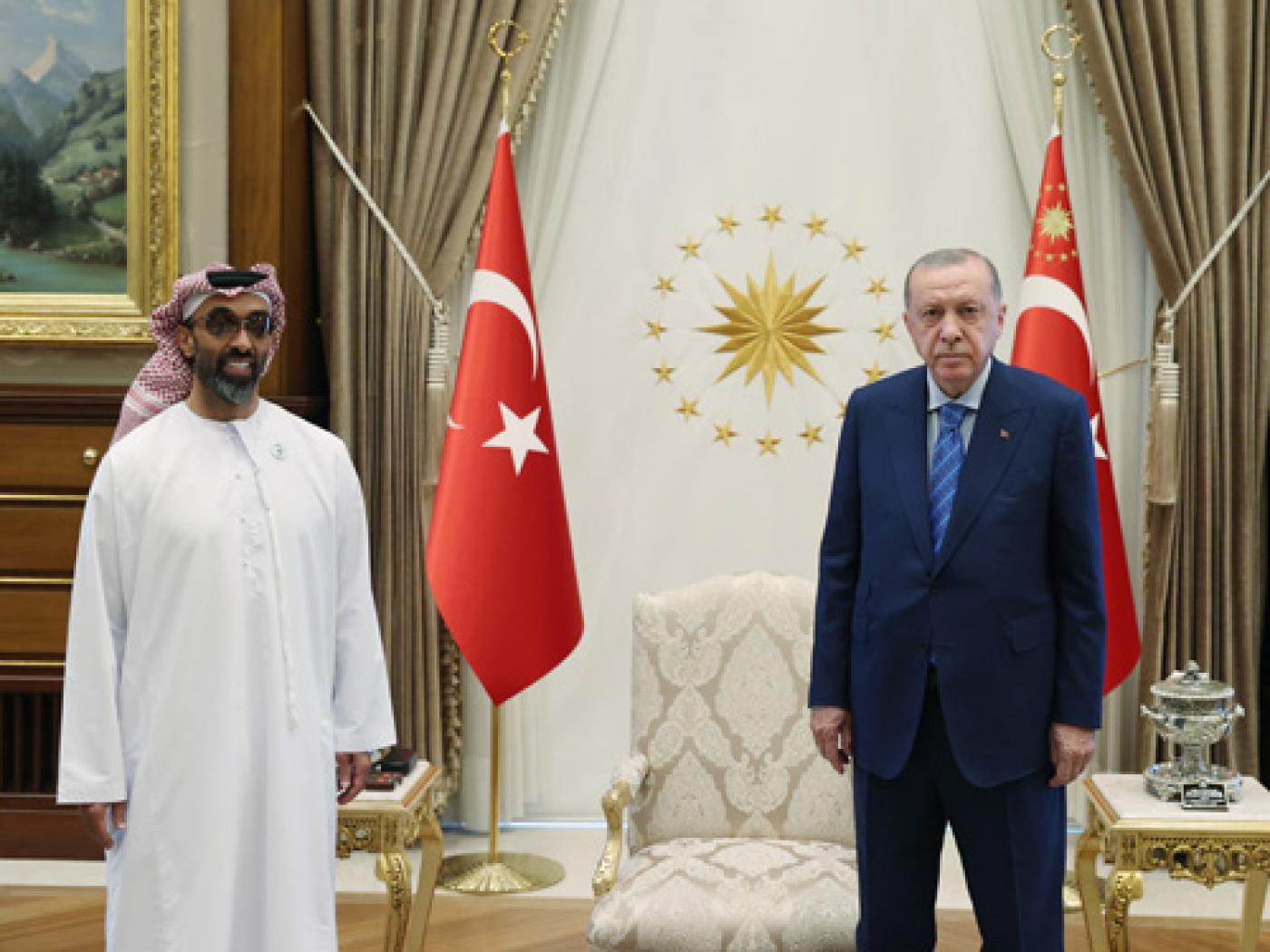 UAE National Security Adviser Sheikh Tahnoun bin Zayed and Turkish President Recep Tayyip Erdogan meet in Ankara on 18 August 2021 (Turkish Presidency)