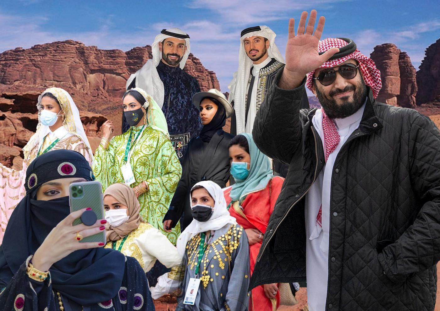 Activistes et militants critiquent l'entrée progressive de l'Arabie saoudite dans le monde de la mode (illustration: Mohamad Elasaar pour MEE)