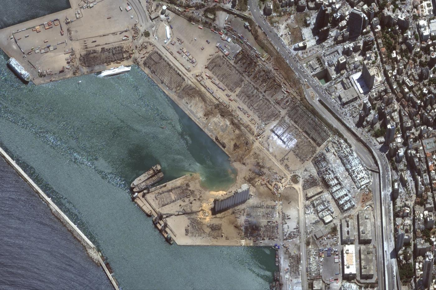 Satellite images show the impact on Beirut's port
