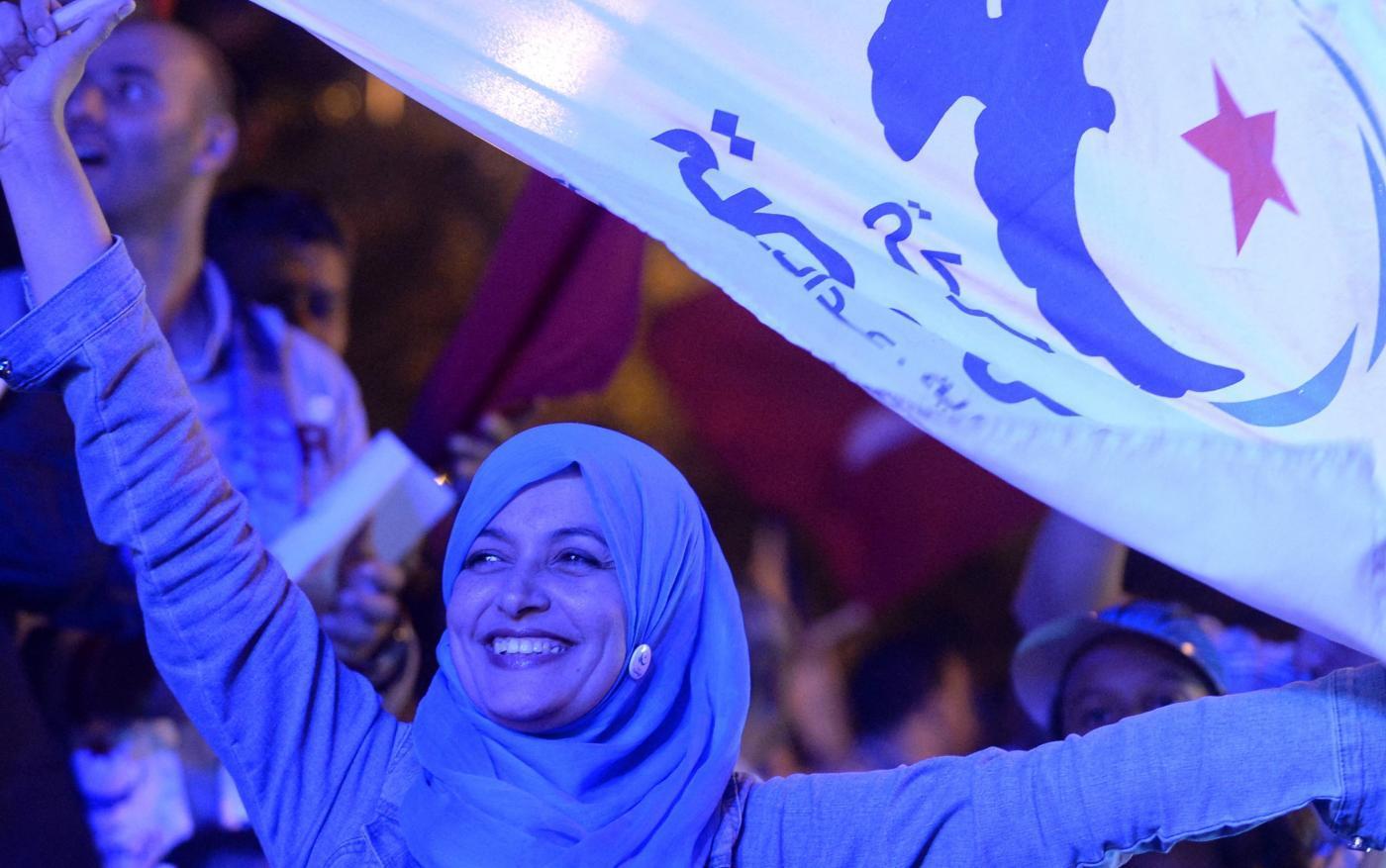 Le drapeau du parti Ennahdha