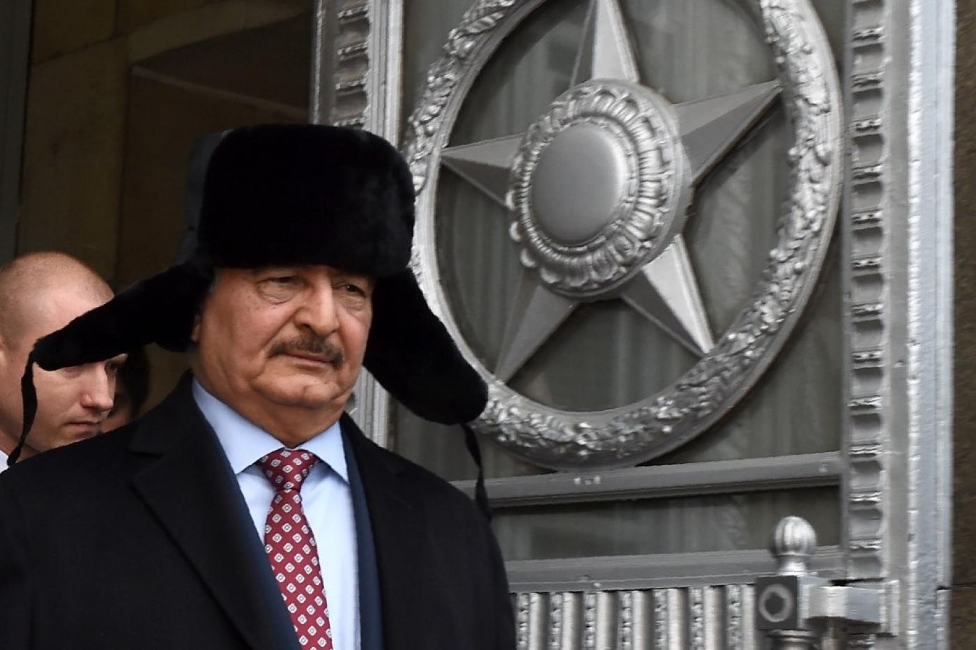 Khalifa Haftar leaves Russia's foreign ministry after a meeting in Moscow in 2016 (AFP)