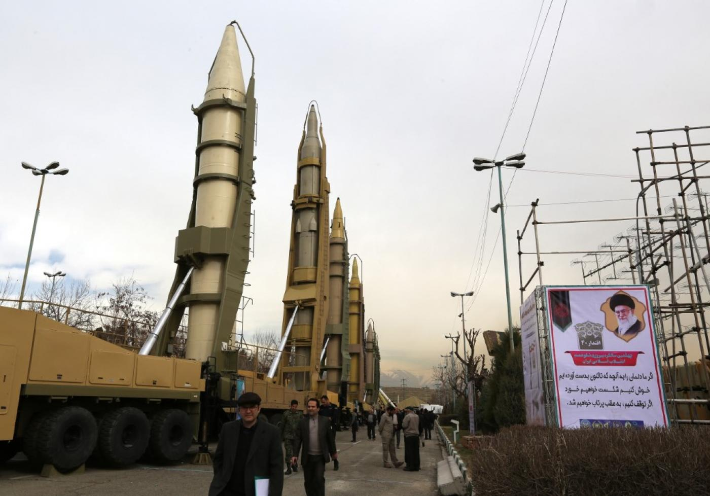 Iranians visit a weaponry and military equipment exhibition in the capital Tehran in February 2019.