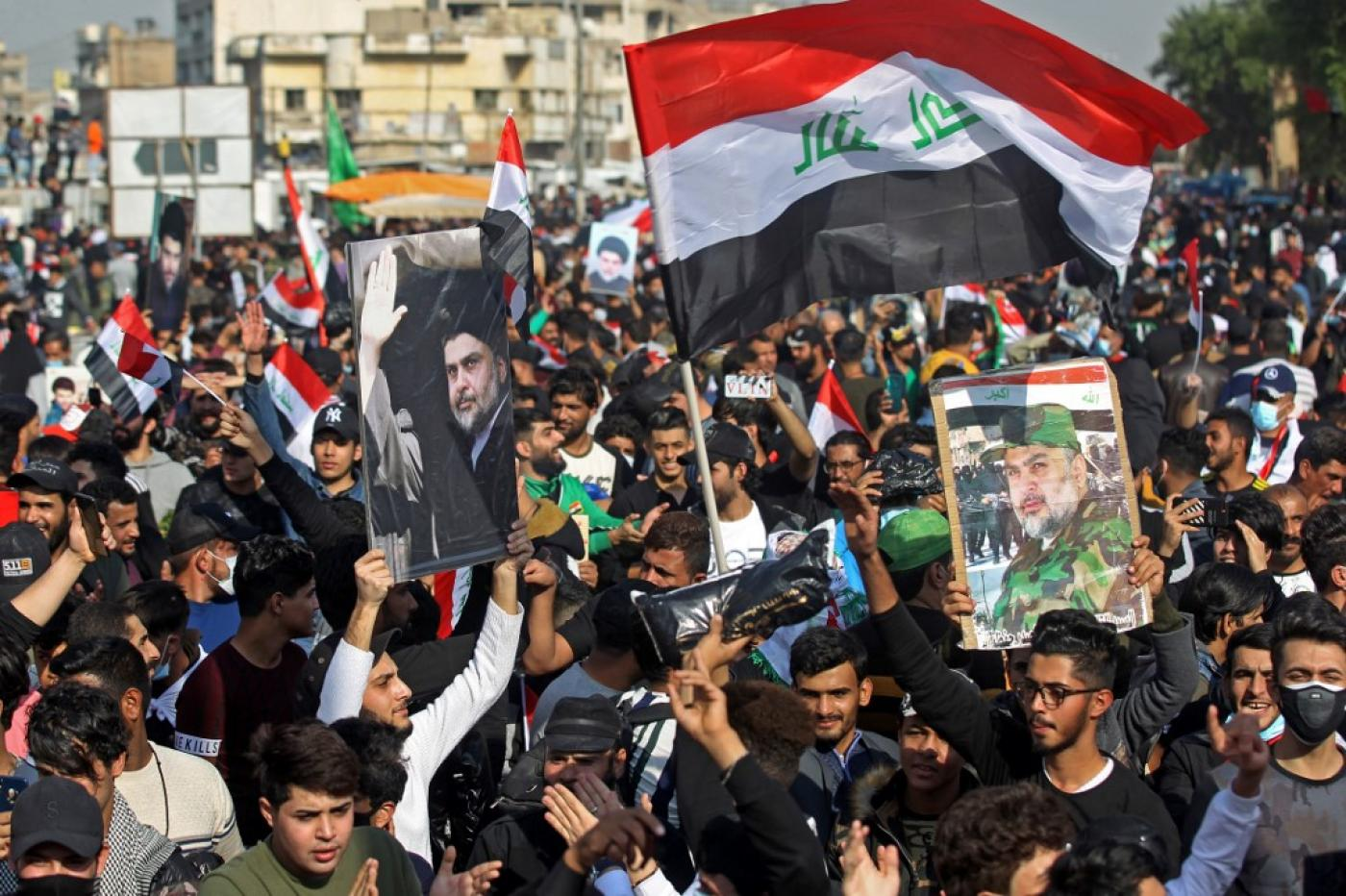 Tens of thousands of Sadr supporters hit the streets of Baghdad and the southern city of Nasiriyah.