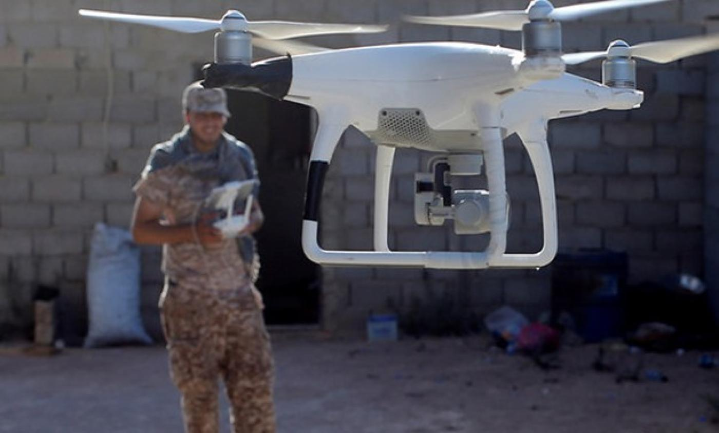 Libyan fighter operating a drone