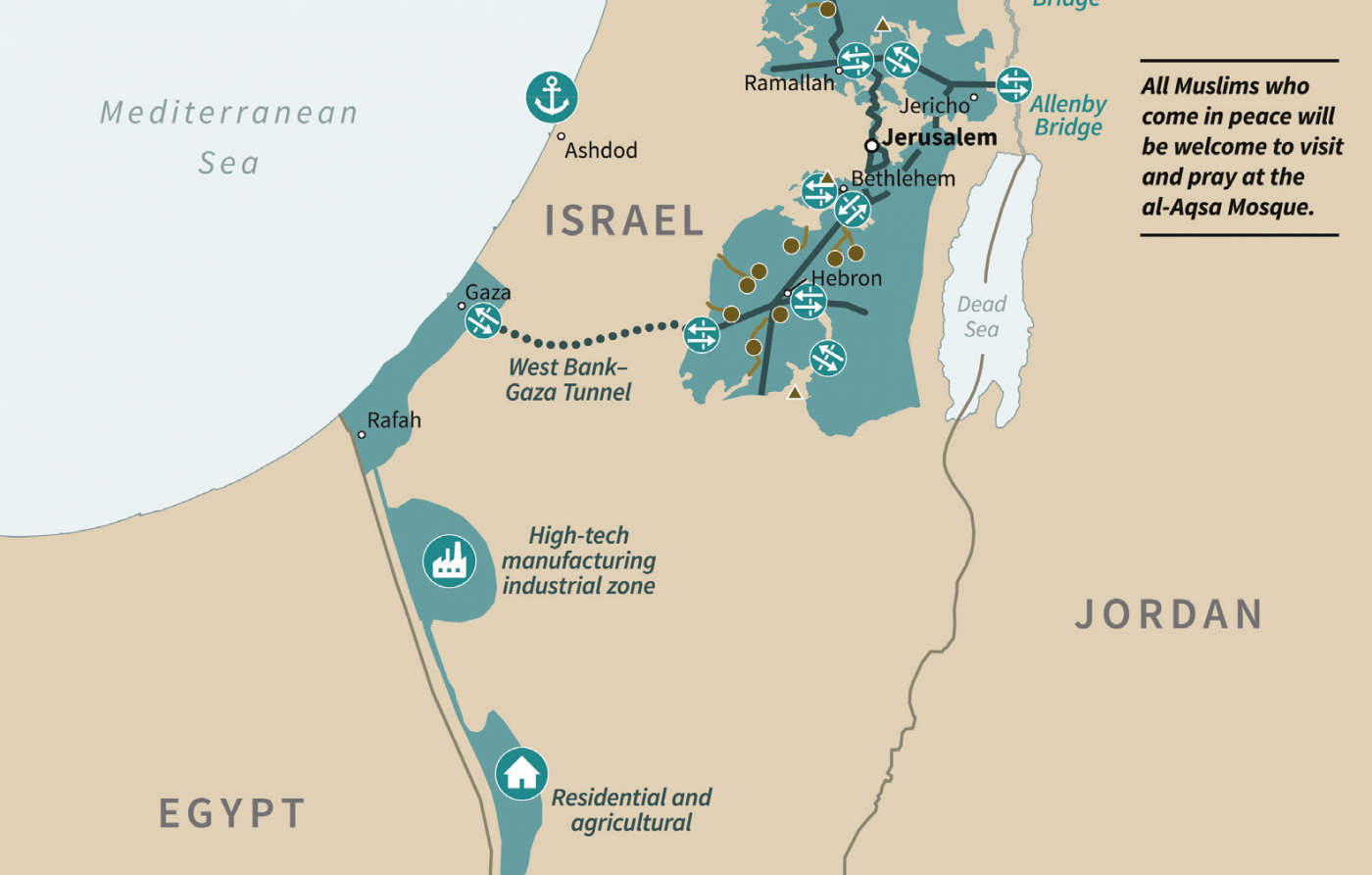 Israel Middle East Map REVEALED: Trump's 'deal of the century' map for a future Palestine