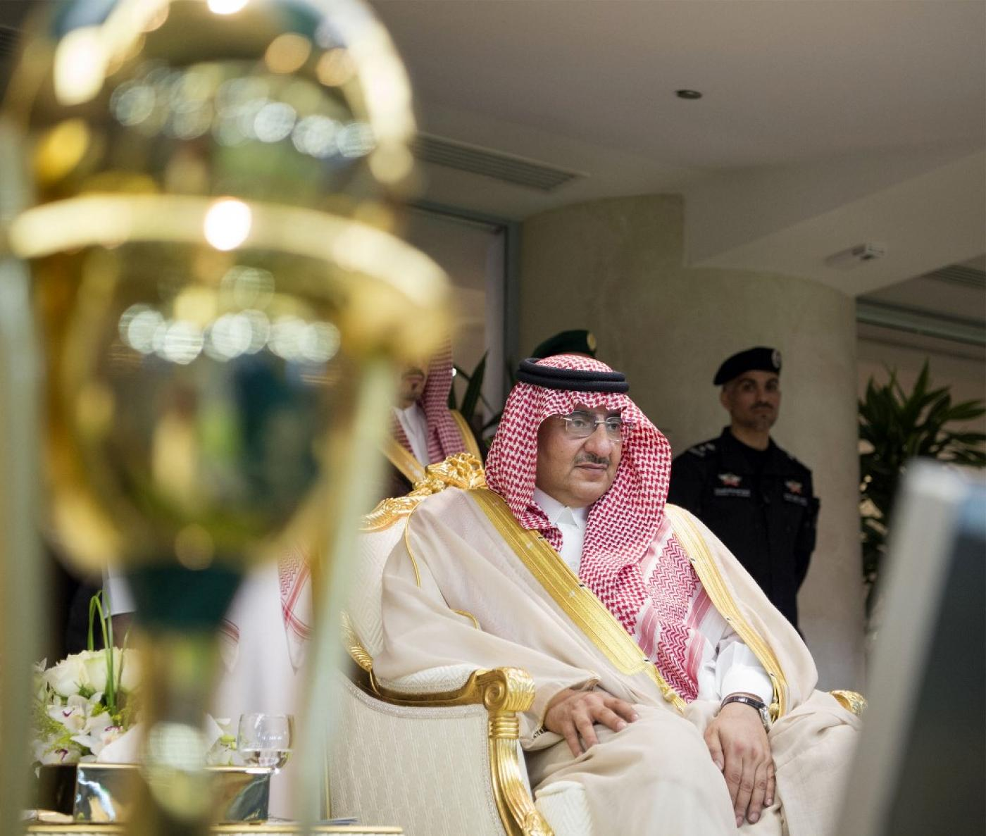 Mohammed bin Nayef sitting down at the Saudi Royal Palace in 2017.