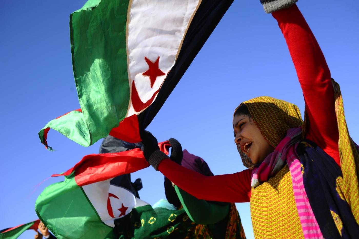 A Sahrawi woman protests in Western Sahara in 2014 (MEE/Oscar Rickett)