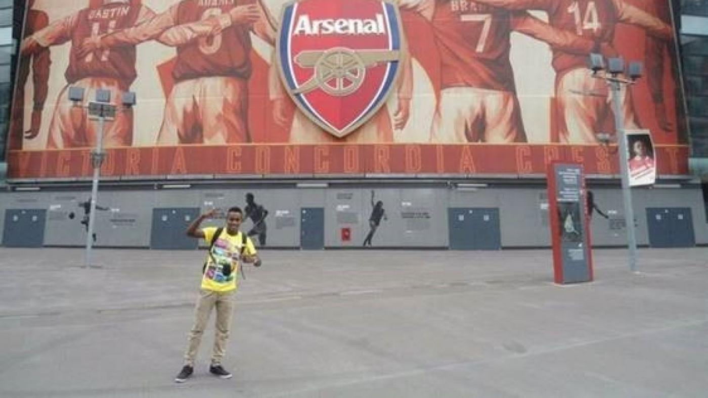 Ali Issa Ahmad, pictured outside the Emirates stadium in London (supplied)
