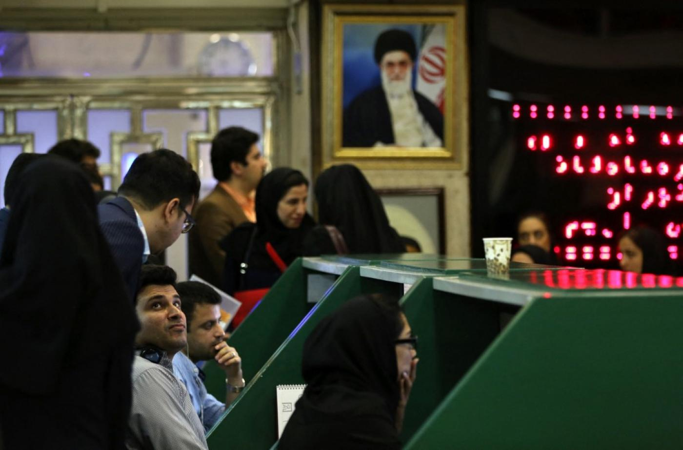 Iranian traders work at Tehran Stock Exchange on 1 July 2019.