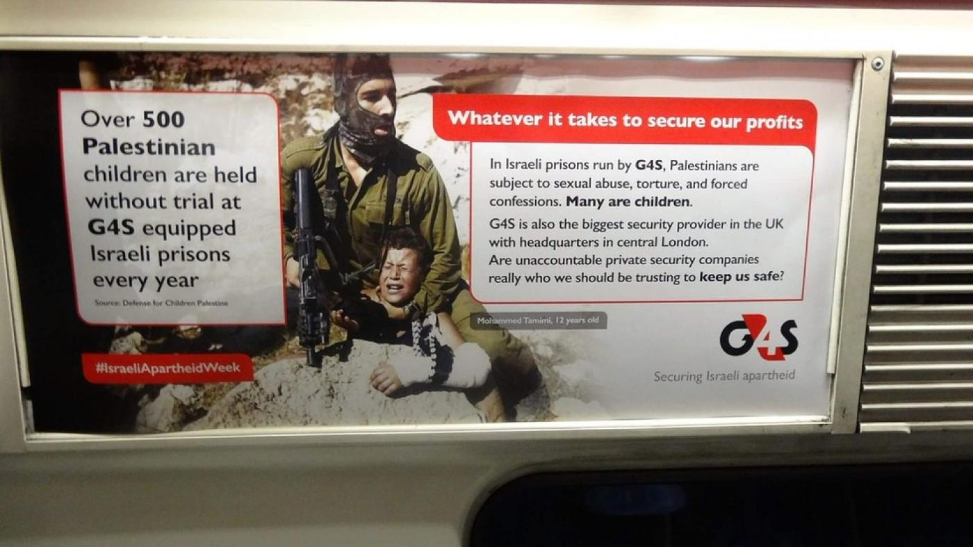 best website d8956 2787d Activists plaster London trains with  Israeli apartheid week  posters