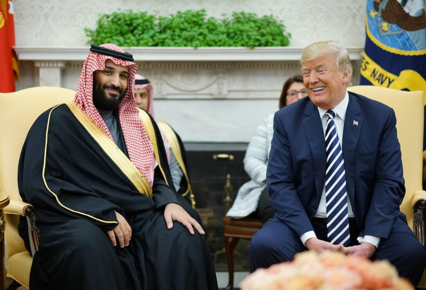 Trump and Saudi Crown Prince Mohammed bin Salman at the White house in 2018.