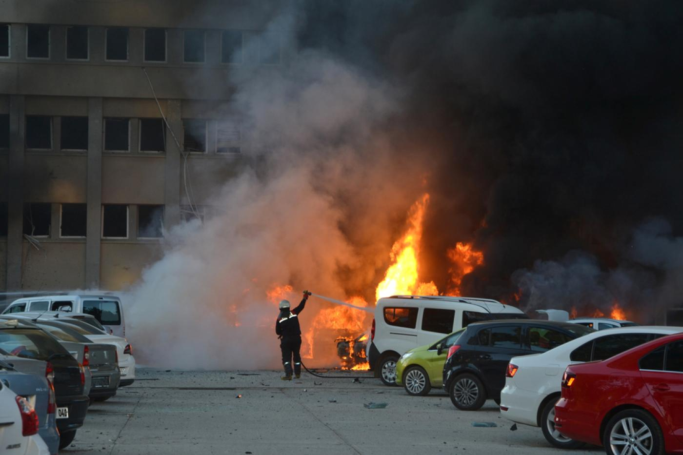Firemen Tackle A Blaze That Broke Out After Car Exploded Outside Local Government Office In Southern Turkey On Thursday Morning Afp