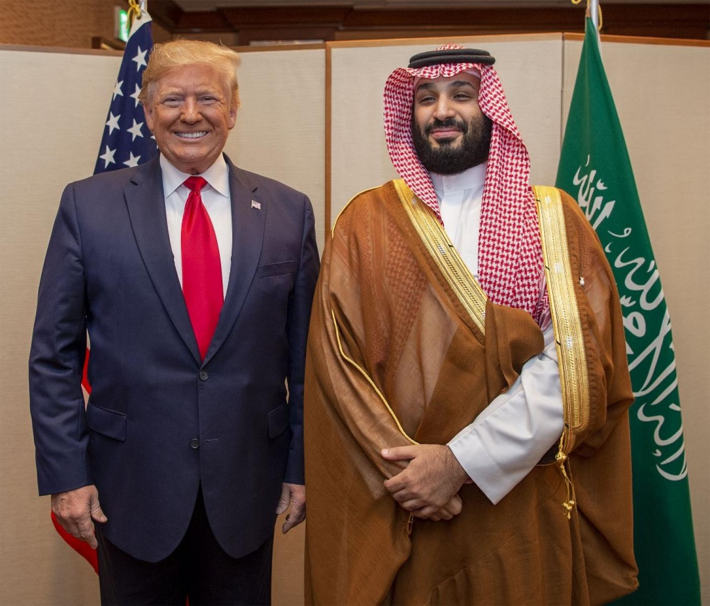 Saudi Crown Prince Mohammed bin Salman and US President Donald Trump during their meeting on the sidelines of the G20 summit in Osaka, Japan (AFP)