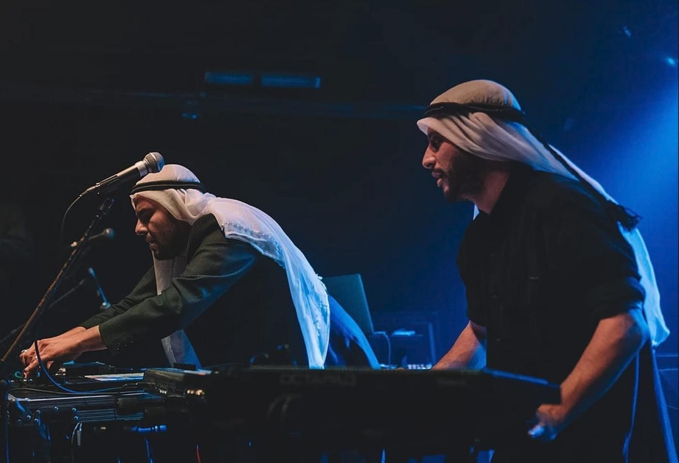 Zenobia's Nasser Halahlih, left, and Isam Elias on keyboards perform at the 2019 Palestinian Expo (Zenobia)