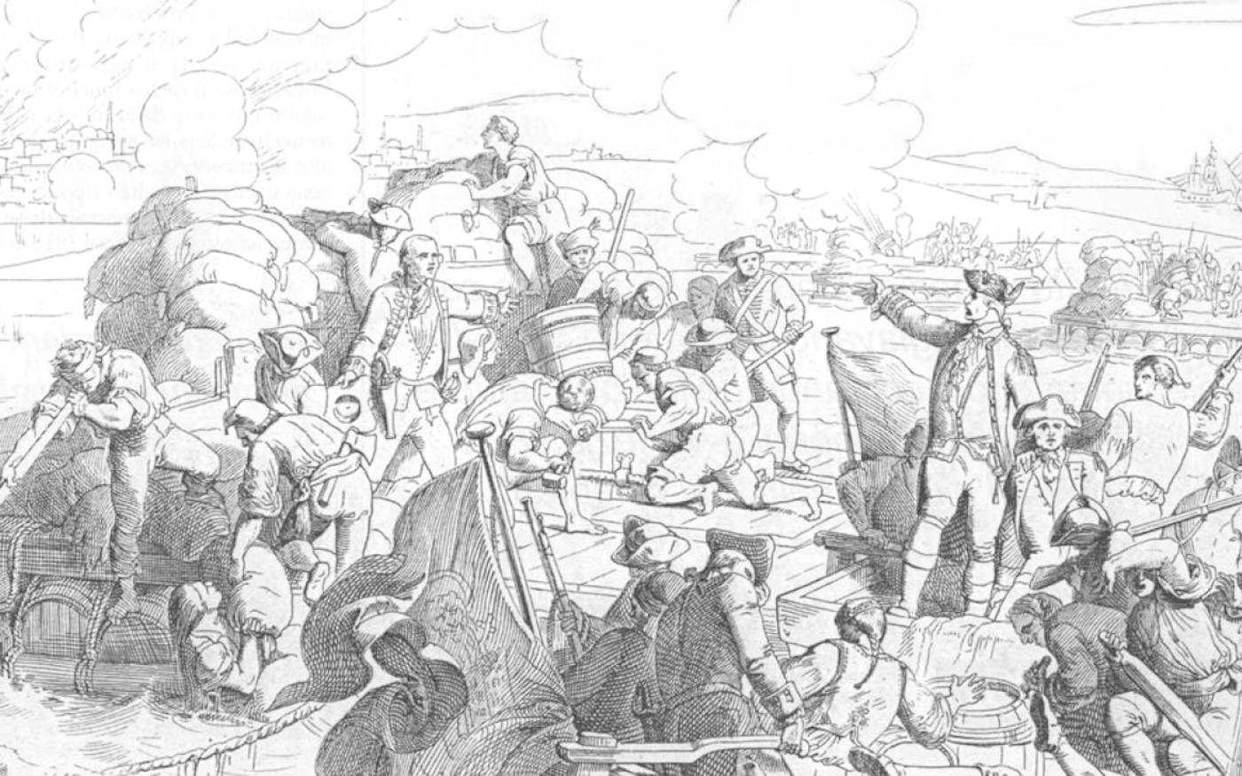 La peste a exacerbé les tensions entre Sfax et Venise: ici, les forces placées sous le commandement d'Angelo Emo bombardent le port tunisien (en haut à gauche)