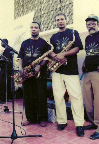 Members of 4 Mars' brass Section, including Mohamed Abdi Alto (L) (Radiodiffusion Television de Djibouti)