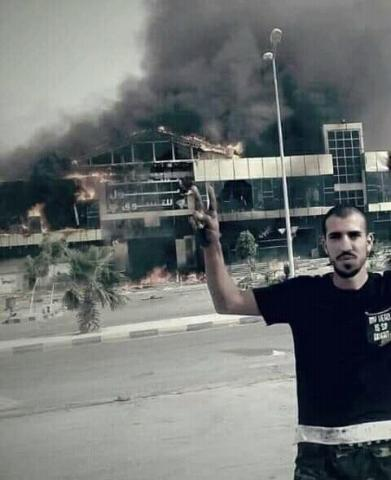 Tarhuna shopping mall burning after the GNA takeover (social media)