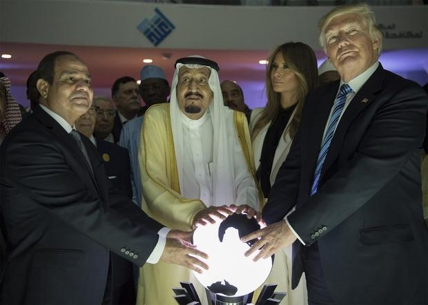 US President Donald Trump with Egyptian President Abdel Fattah al Sisi and Saudi King Salman in Riyadh in May 2017