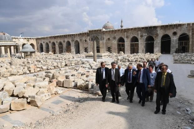 A European delegation visits Aleppo's Great Mosque on 4 June (AFP)