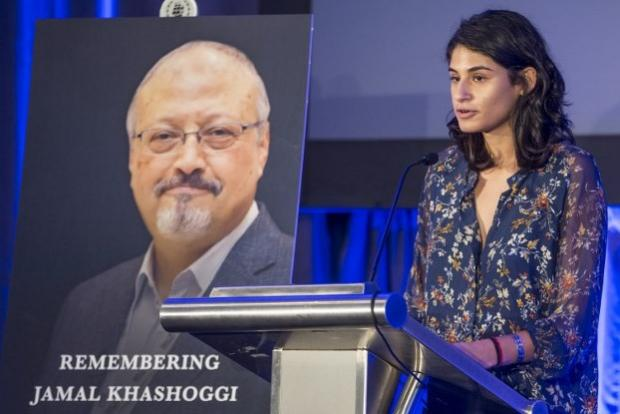 Reporters Without Borders communications officer Noni Ghani speaks during a memorial service for Saudi journalist Jamal Khashoggi on 2 November 2018 in Washington, DC (AFP)