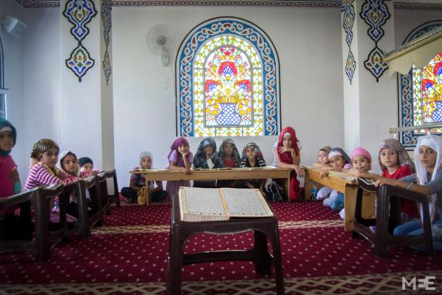 The Turkish mosque where Syrian refugee children go during holidays to practice reading (MEE/Xander Stockmans)
