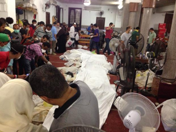 Row of bodies in El-Eman mosque used as a make-shift morgue