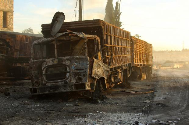 One of the aid trucks attacked in Aleppo on 19 September 2016 (Reuters)