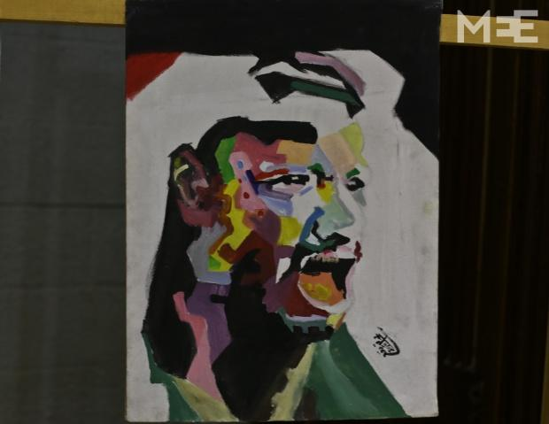 An abstract drawing of Yasser Arafat (MEE/Mohammed Asad)