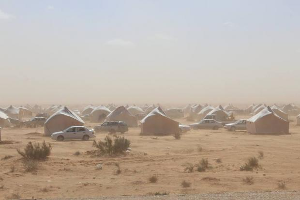 Hundreds of families stranded in Qararat el-Qatef camp lack basic sanitation and health facilities (MEE/Emad Ergaha)