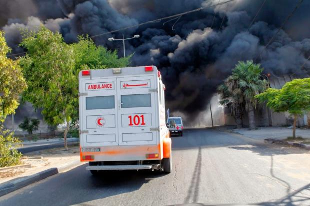 Ambulances leaving al-Aqsa hospital were reportedly hit by Israeli shelling (MEE / Eloise Bollack)