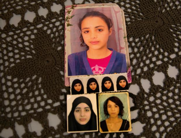 Olfa's pictures of her daughers, Rahma and Ghofrane (MEE/Costanza Spocci)