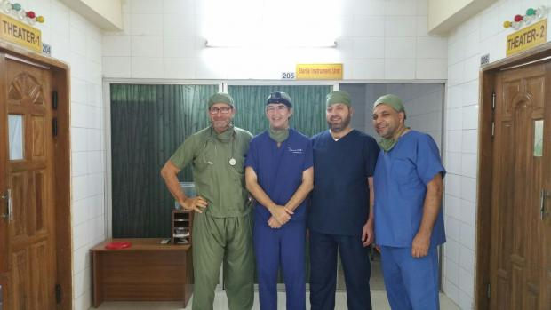 Dr David Notti (centre left) and Mounir Hakimi (centre right) at a hospital in Cox's Bazaar (screengrab)