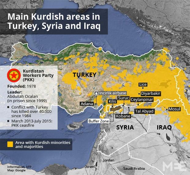 Main Kurdish areas in Turkey Syria and Iraq Middle East Eye