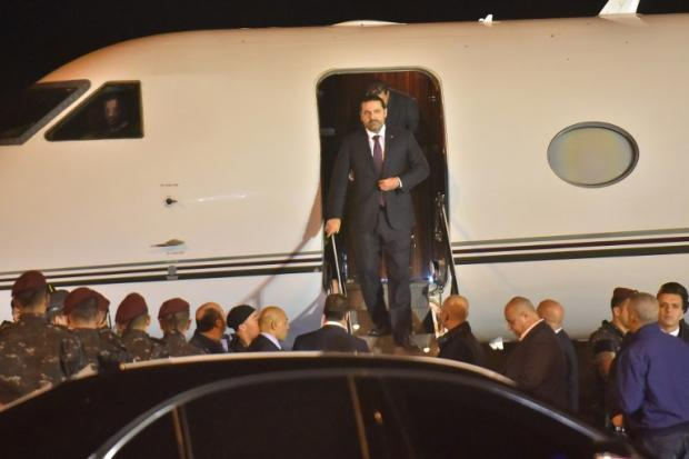 Lebanese Prime Minister Saad Hariri lands at the Beirut airport on Tuesday night
