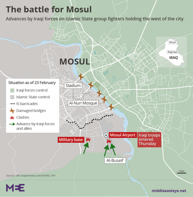 Battle For Mosul Iraqi Army Storms Airport And Military Base - Map of us bases around iraq