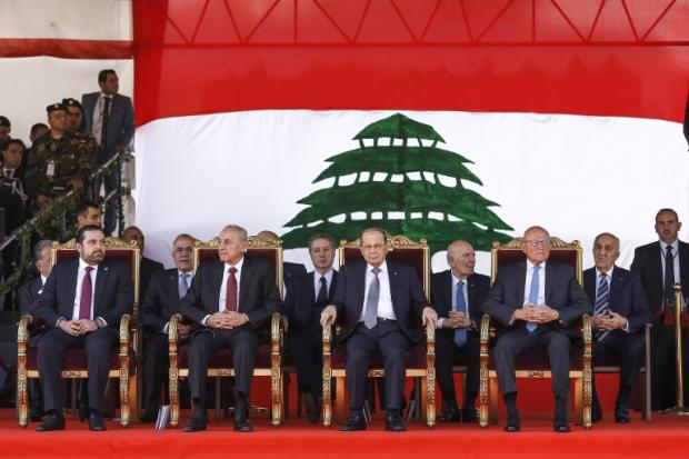 Lebanese President Michel Aoun (C), Parliament Speaker Nabih Berri (2nd-L), Caretaker Prime Minister Tamam Salam (C-R) and Hariri (L) in November 2016 (AFP)